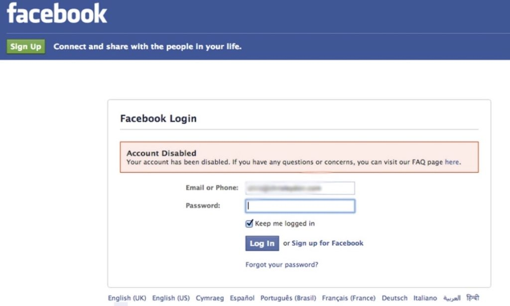 Facebook Ads Account Disabled